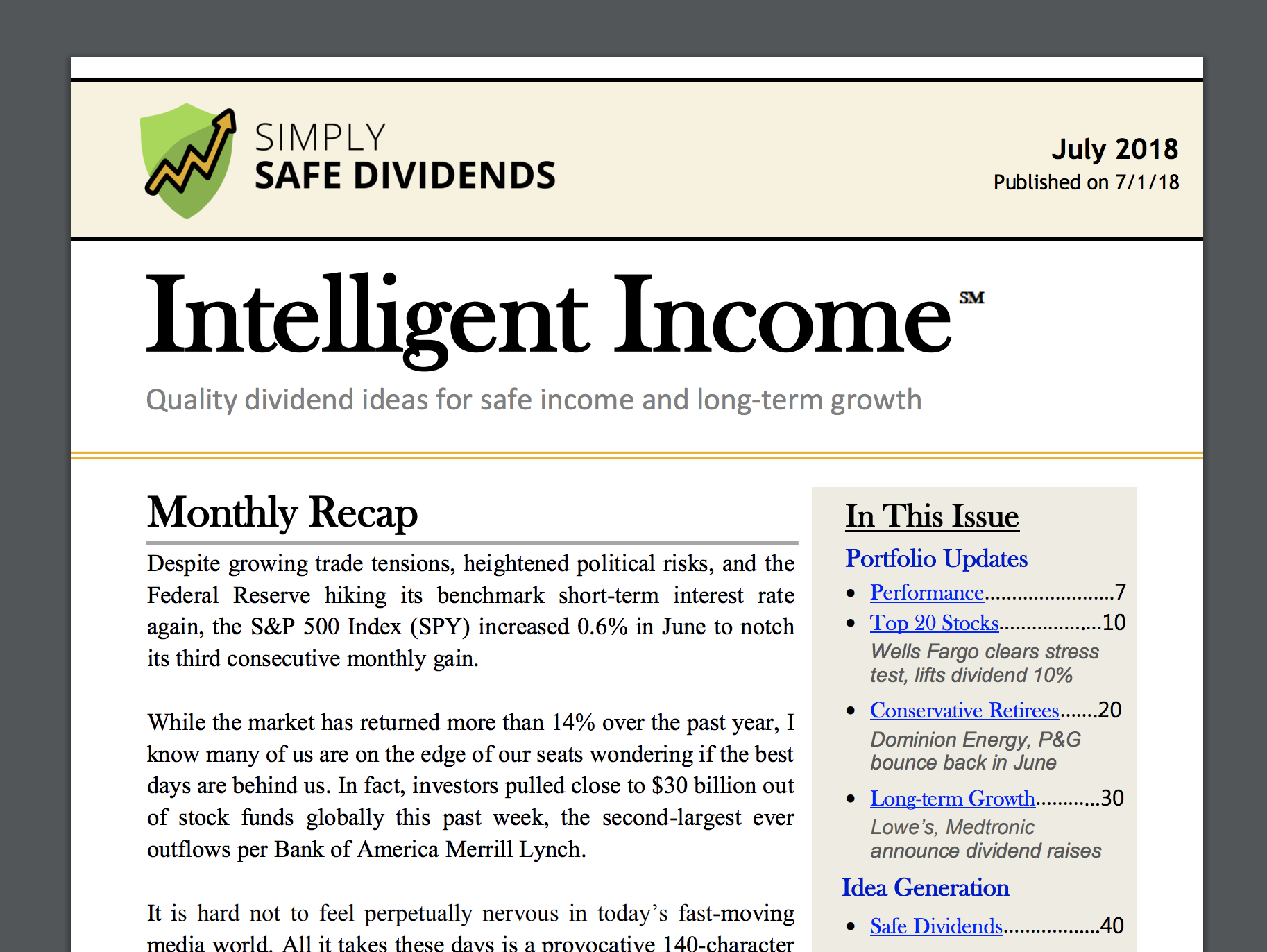 Simply Safe Dividends Safe Growing Income For Retirement